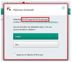 Kaspersky Duqu detection notification