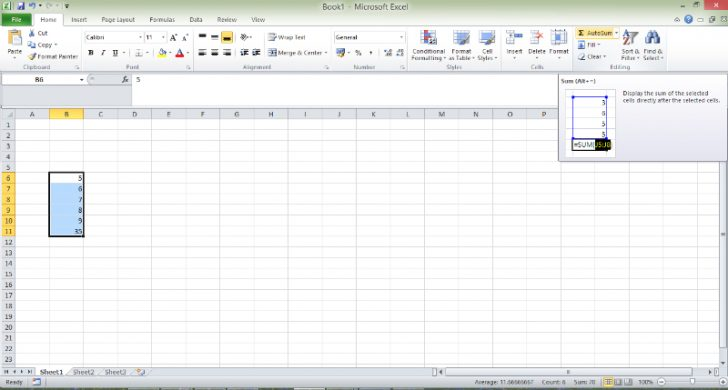TIps - Excel Autosum