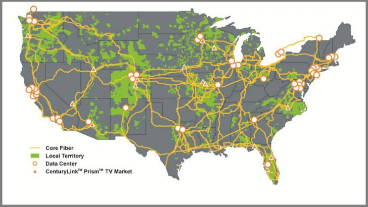 CenturyLink National Map (Source:CenturyLink)