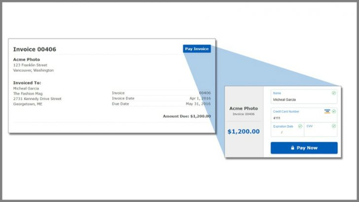 Kashoo integrates BluePay into invoices for easy payment (Source Kashoo)