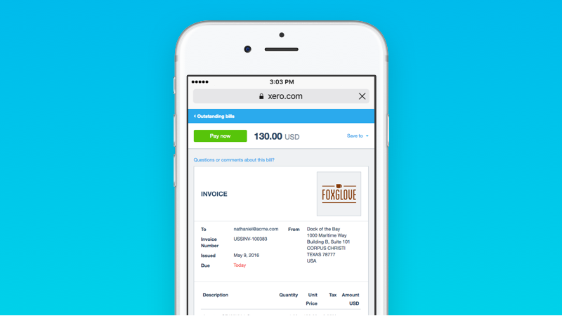 Xero improves Invoice layout on all devices (Source : Xero)