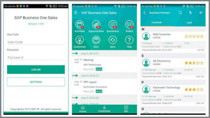 SAP Business One Sales App on Android (Image SAP)