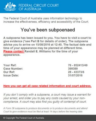 email scam hits Australian Federal Court