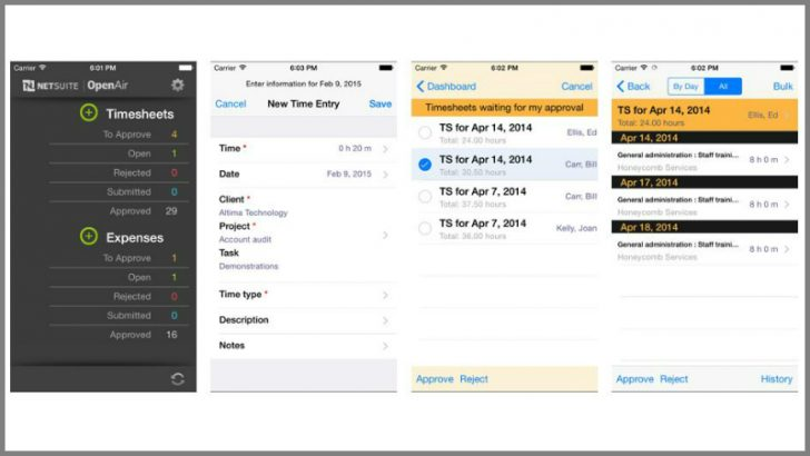 NetSuite OpenAir app screen shots (Image Source NetSuite/iTunes)