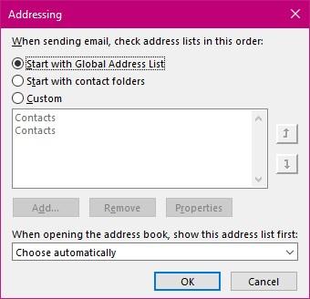Addressing Dialog box
