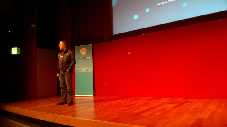 Gary Turner on stage at Xero Roadshow 2016 in London (Credit S Brooks)